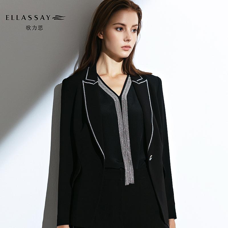完美关系佟丽娅江达琳同款ELLASSAY歌力思黑色无袖桑蚕丝衬衫