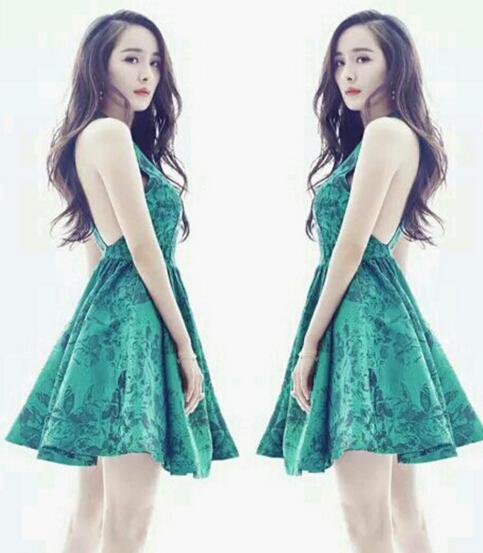 亲爱的翻译官杨幂乔菲明星同款无袖绿色蕾丝连衣裙