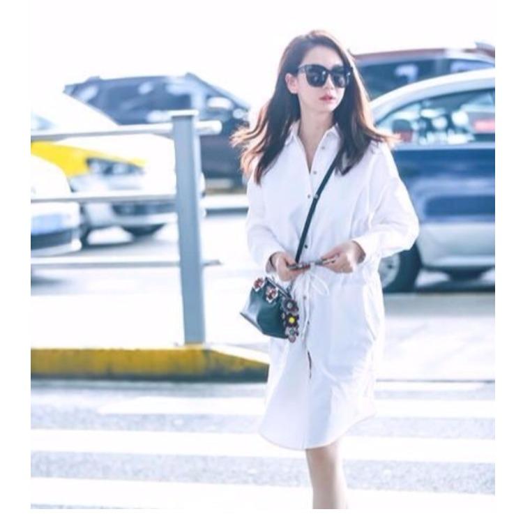 你好乔安戚薇机场街拍同款白色衬衫连衣裙