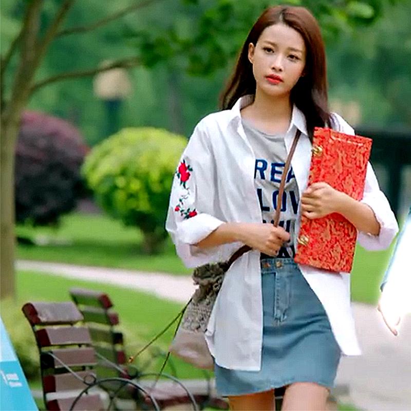 因为遇见你张果果孙怡明星同款休闲玫瑰刺绣白衬衫