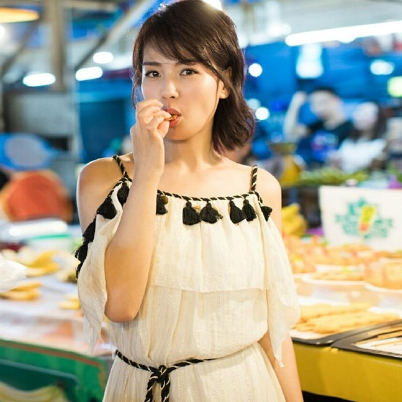 欢乐颂2刘涛安迪明星同款米白色连衣裙