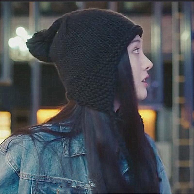 我的保姆手册郑爽同款帽子女冬毛球针织帽可爱加绒保暖护耳毛线帽