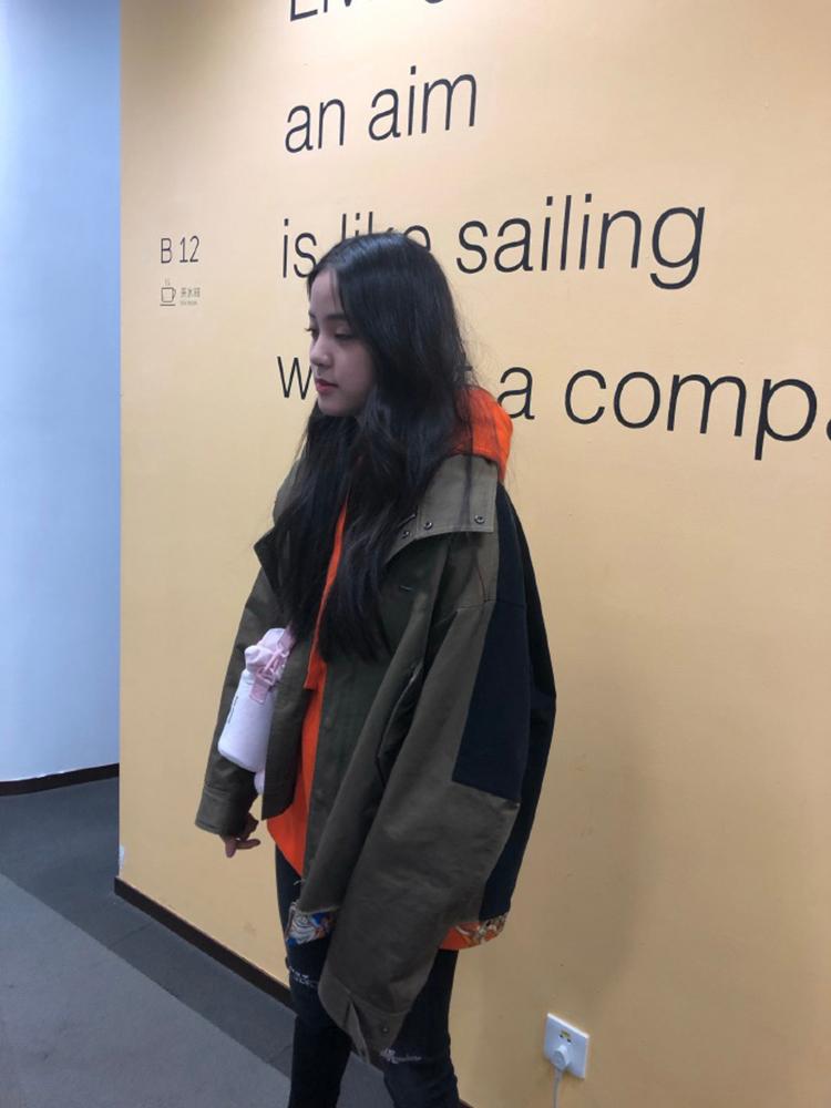 小姐姐的花店欧阳娜娜同款军绿色韩版宽松夹克短外套