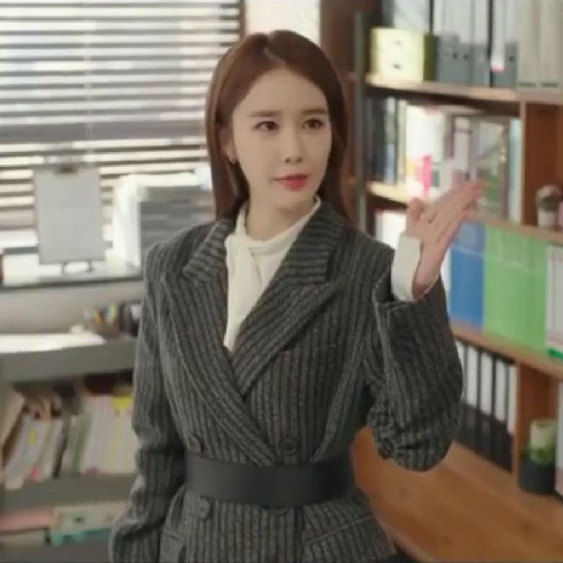 韩剧触及真心刘仁娜同款吴真心同款韩版气质条纹西装外套