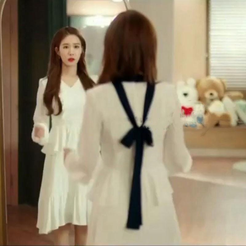 韩剧触及真心刘仁娜吴真心同款V领白色连衣裙