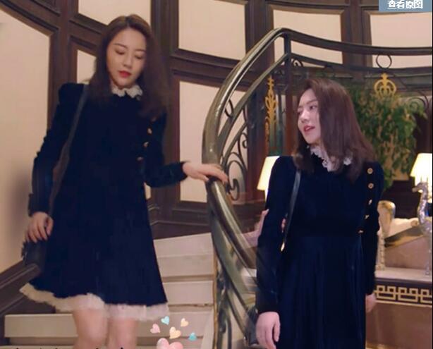 逆流而上的你高密同款黑色蜜丝绒蕾丝连衣裙