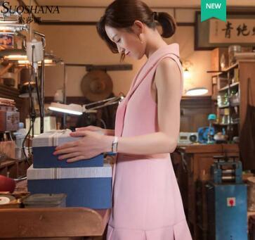 只为遇见你文咏珊高洁同款粉色无袖修身西装式连衣裙