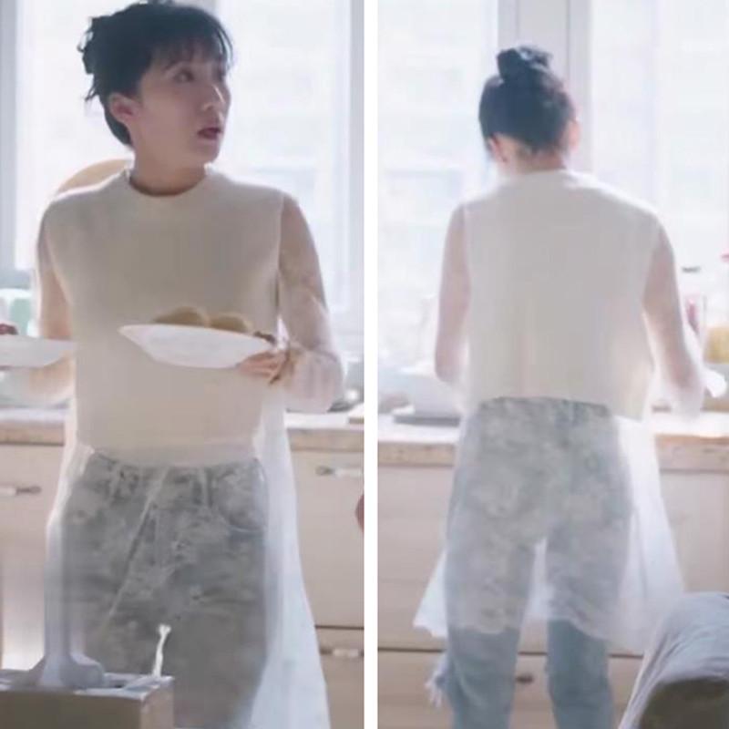 都挺好李念朱丽同款衣服女白色短款套头毛衣针织衫蕾丝连衣裙