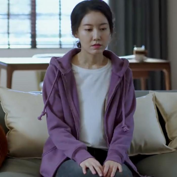 都挺好高露吴非同款紫色连帽拉链宽松衣服休闲长袖卫衣