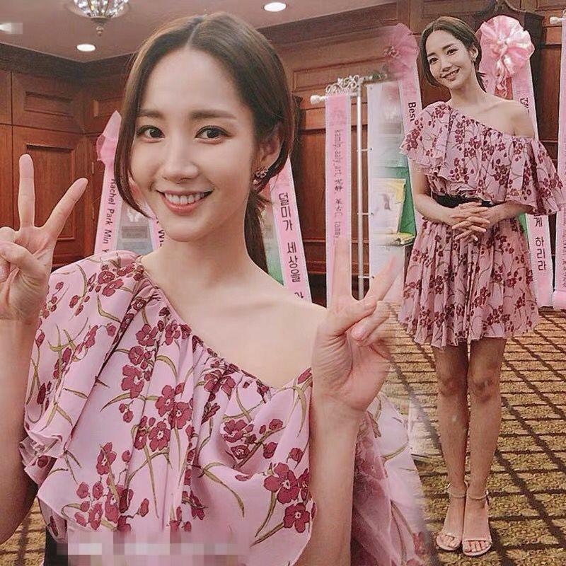 明星韩剧她的私生活朴敏英同款粉色印花连衣裙露肩雪纺碎花超仙裙