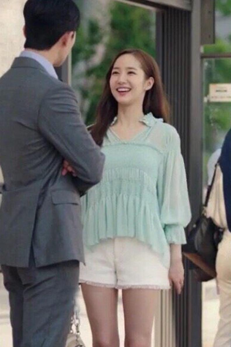 她的私生活朴敏英同款绿色百褶雪纺上衣飘飘仙女雪纺衫