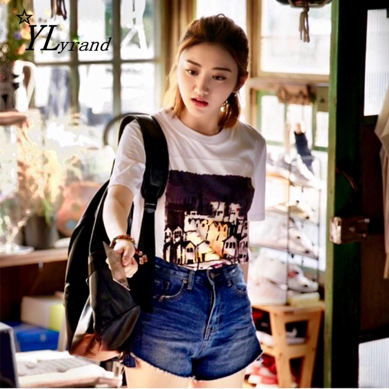 一场遇见爱情的旅行景甜李心月同款短袖印花T恤牛仔裤套装