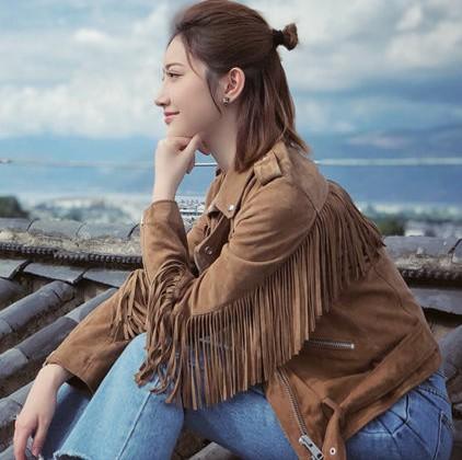 一场遇见爱情的旅行景甜李心月同款卡其色流苏外套