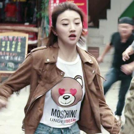 一场遇见爱情的旅行景甜陈晓李心月同款宽松印花上衣短袖T恤