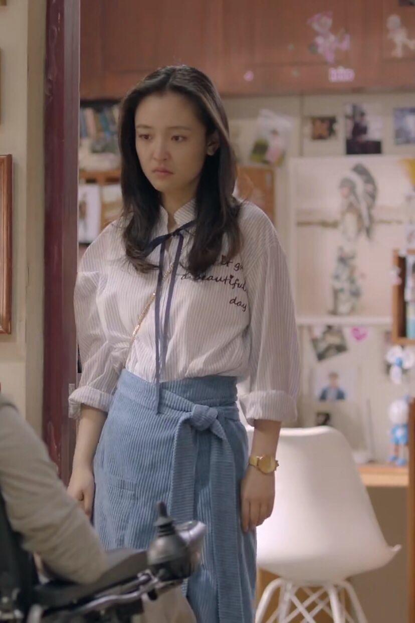 我只喜欢你吴倩赵乔一明星同款半身蓝色系带裙韩版高腰显瘦A字裙