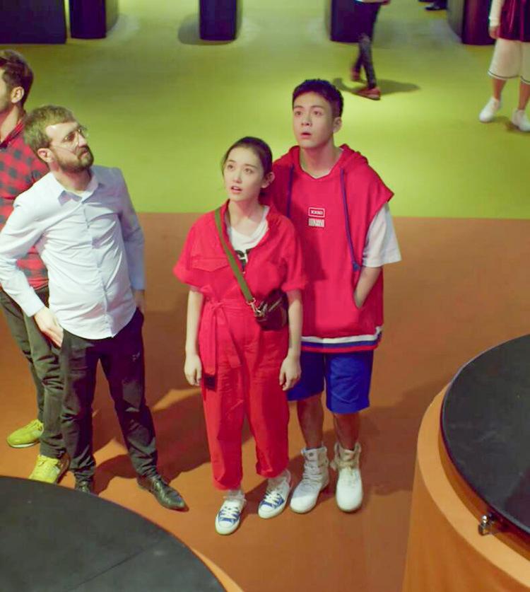 带着爸爸去留学蒋依依同款红色连体裤休闲工装裤