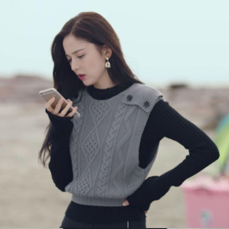 十年三月三十日古力娜扎袁莱同款韩版宽松菱格拼色毛衣针织衫