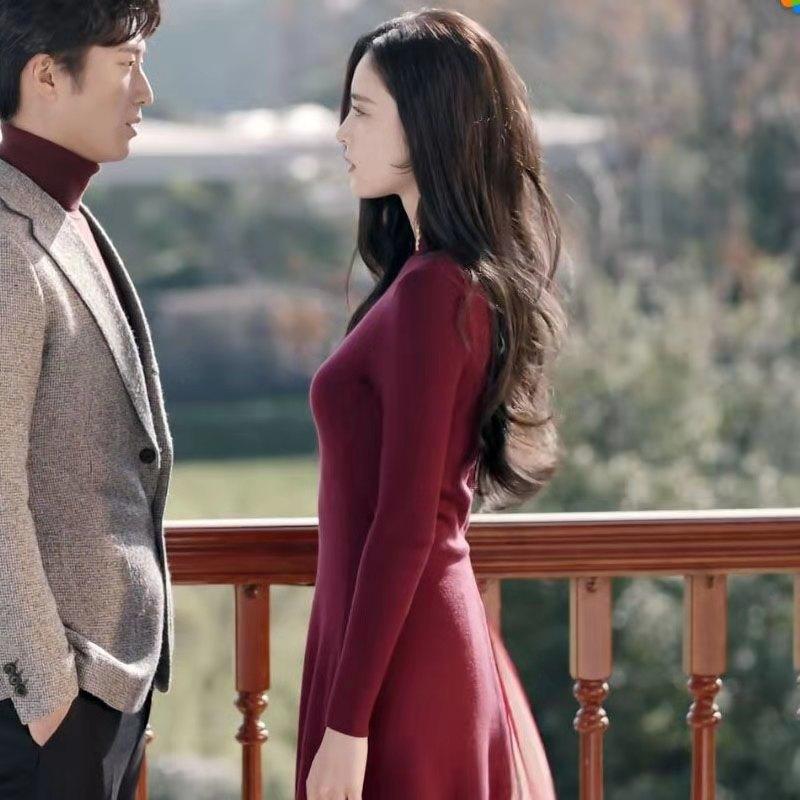 十年三月三十日古力娜扎袁莱同款红色韩版修身连衣裙