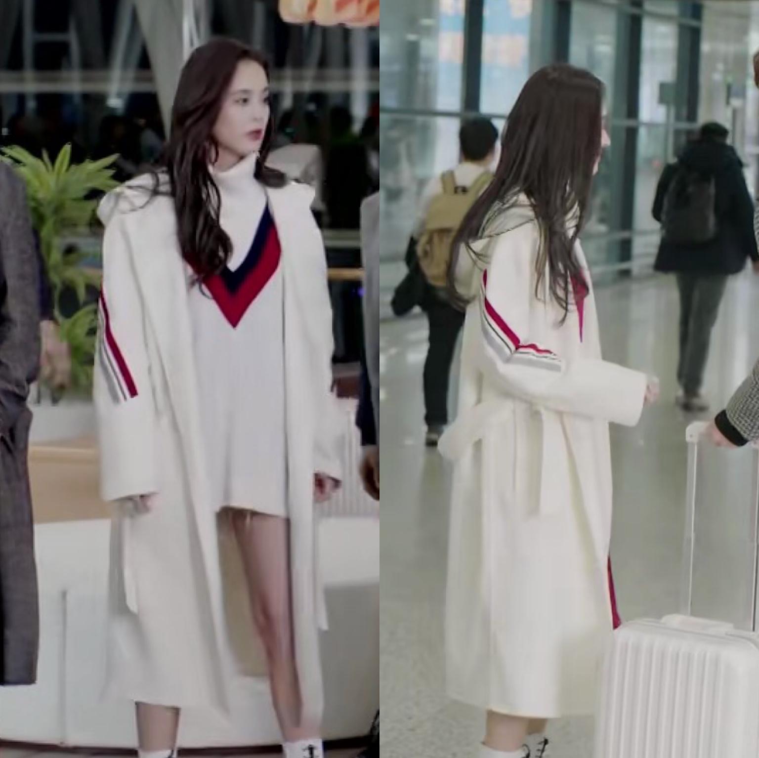 十年三月三十日古力娜扎袁莱同款白色长款毛呢呢子大衣外套