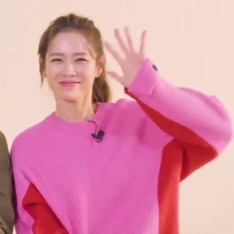 爱的迫降孙艺珍尹世利明星同款红色韩版秋冬宽松粉色毛衣针织衫