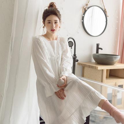 下一站是幸福同款甜美纯棉睡裙长袖宫廷仙女公主风长裙睡衣