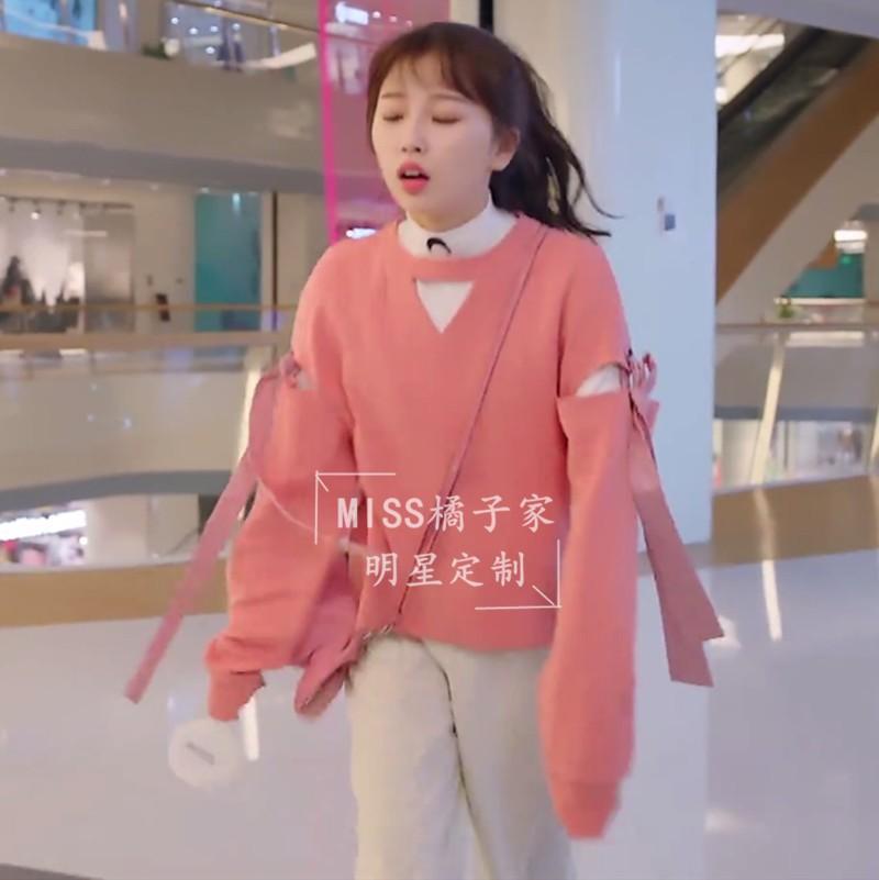 下一站是幸福虞书欣蔡敏敏同款粉色破洞系带卫衣宽松上衣