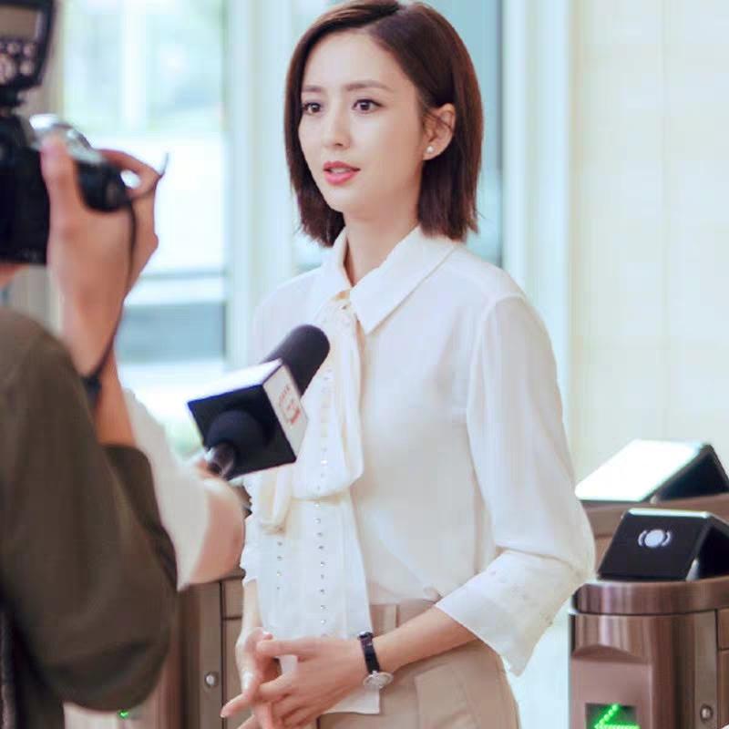完美关系佟丽娅江达琳同款白色时尚洋气系带打底雪纺衫衬衫
