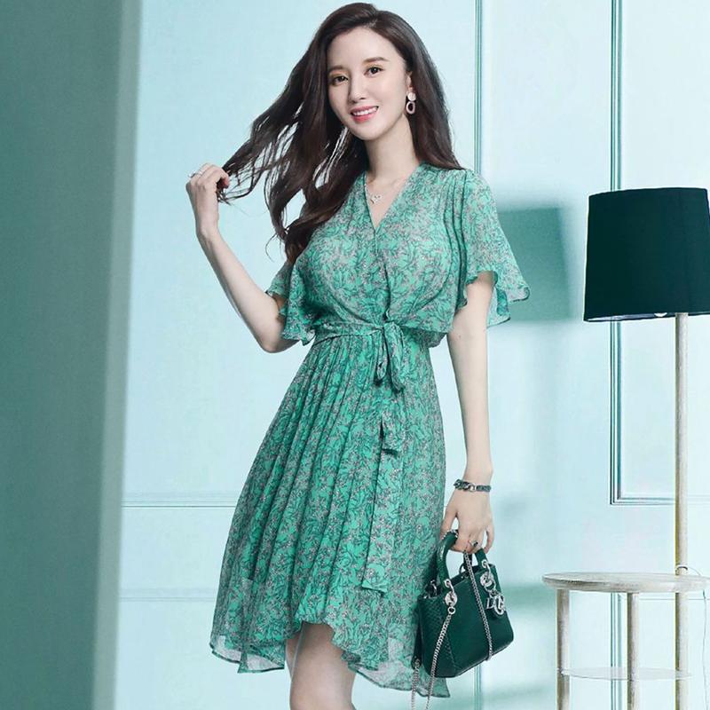 安家张萌张乘乘同款绿色衣服春季印花雪纺连衣裙
