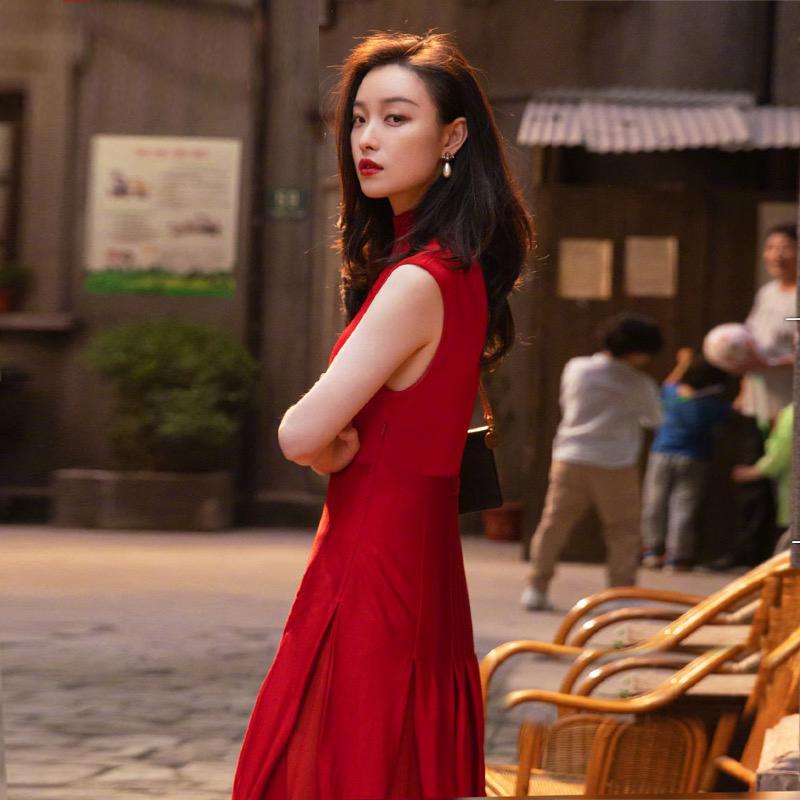 流金岁月朱锁锁倪妮同款红色秋冬修身显瘦法式复古连衣裙